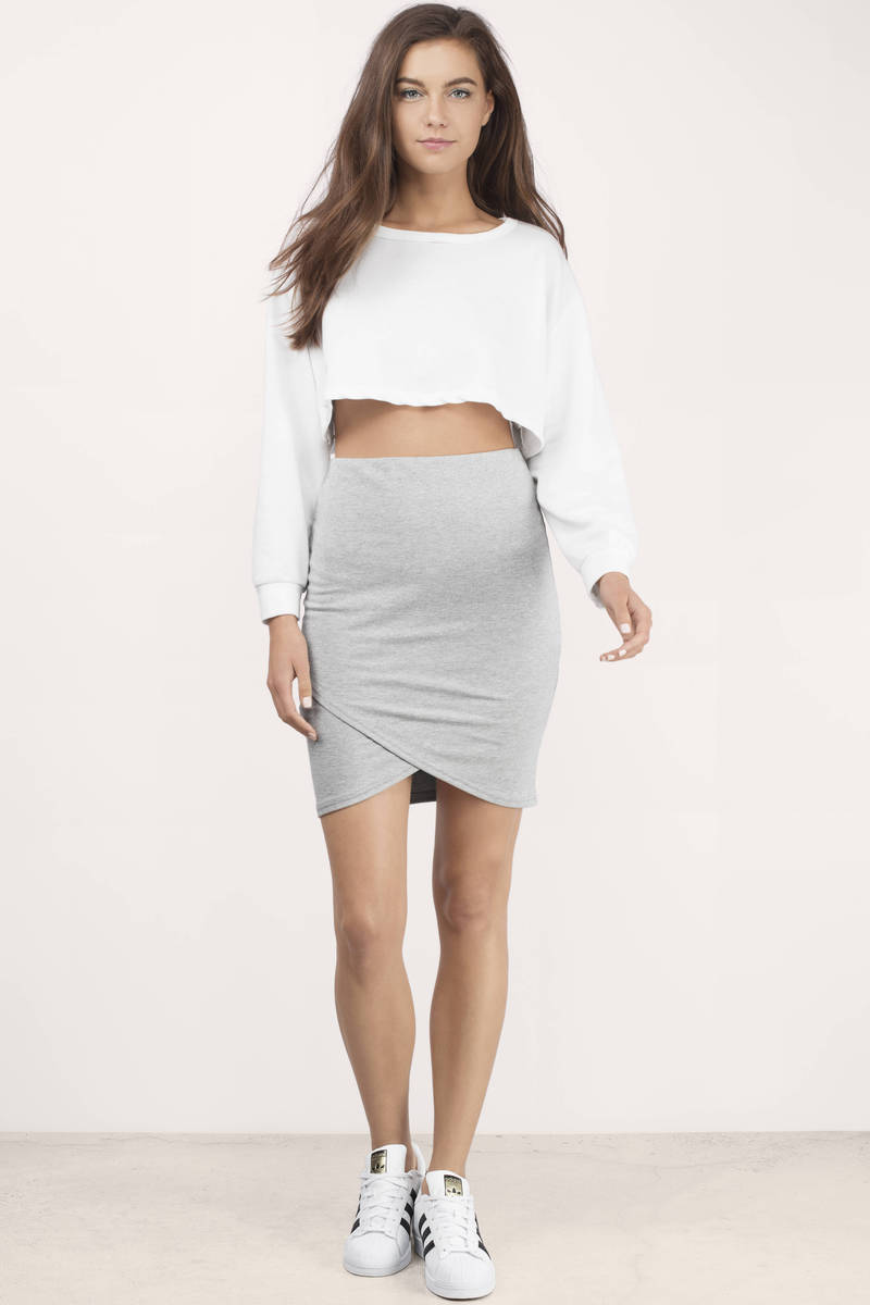 Heather Grey Skirt - Grey Skirt - Mini Skirt - $34.00