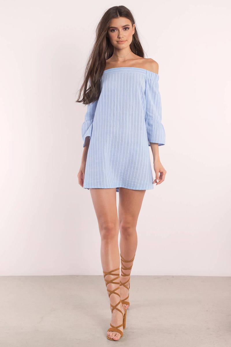 Light Blue Dress - Off Shoulder Dress - Blue Smock Dress - Shift ...