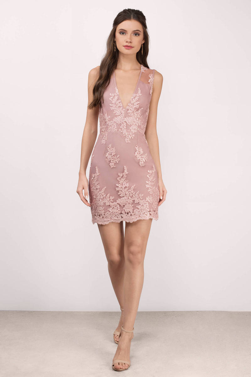 Mauve Dress - Deep V Dress - Pretty Pink Dress - Bodycon Dress - $82