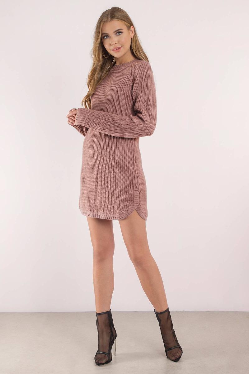 Cute Mauve Dress - Dolphin Hem Dress - Long Sleeve Dress - $32 ...