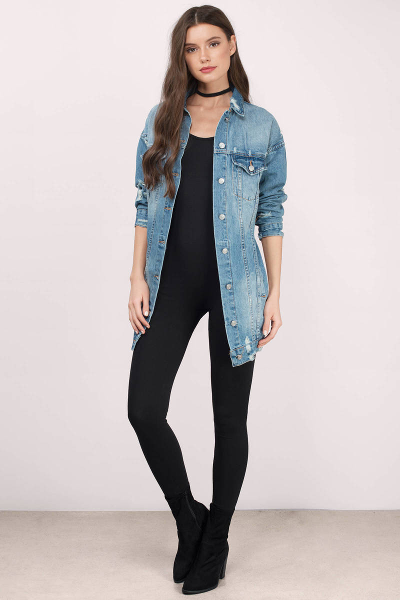 Trendy Medium Wash Outerwear - Longline Outerwear - $62.00