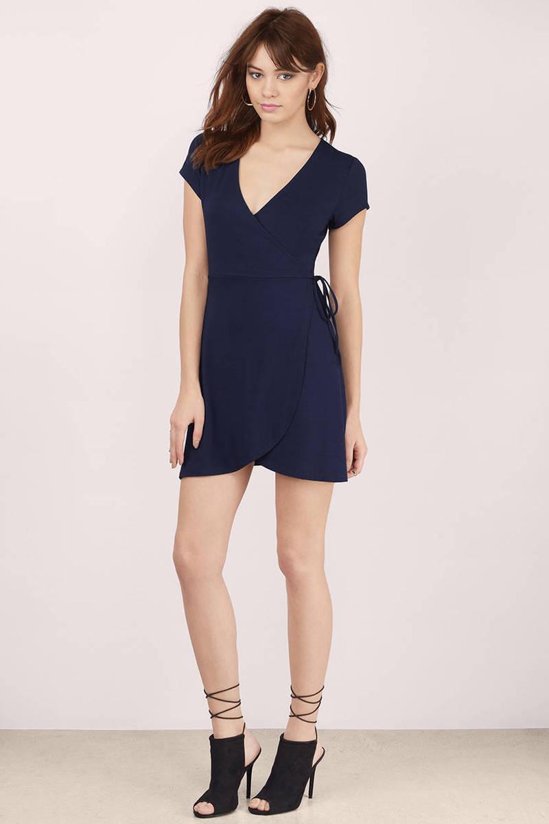 Navy Wrap Dress Blue Dress Draped Dress 40 00