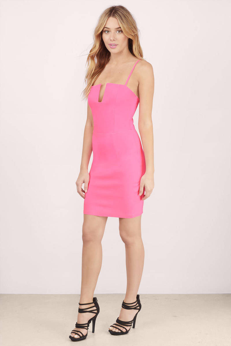 Trendy Neon Pink Bodycon Dress - Cut Out Dress - $10.00