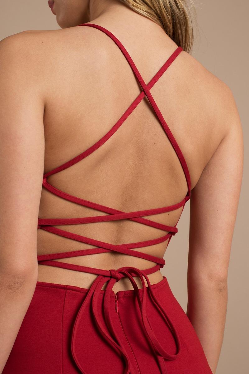 sexy red dress strappy dress stretch red dress