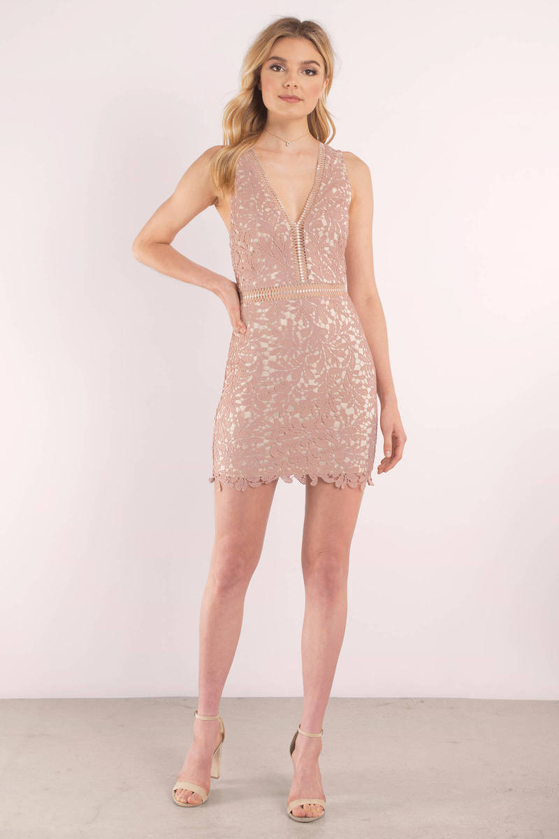Cute Ivory And Nude Dress - Beige Lace Dress - Nude -3709