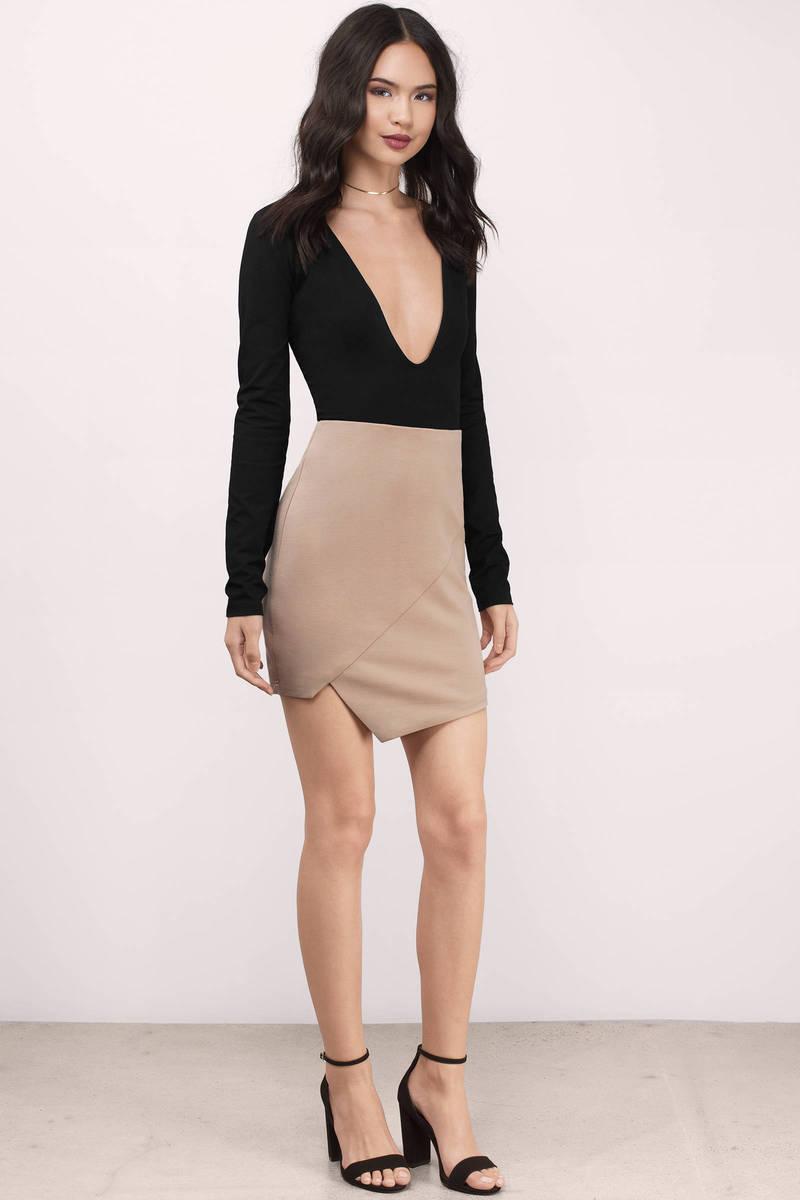 Black Skirt - Black Skirt - Asymmetrical Skirt - Khaki Midi Skirt ...