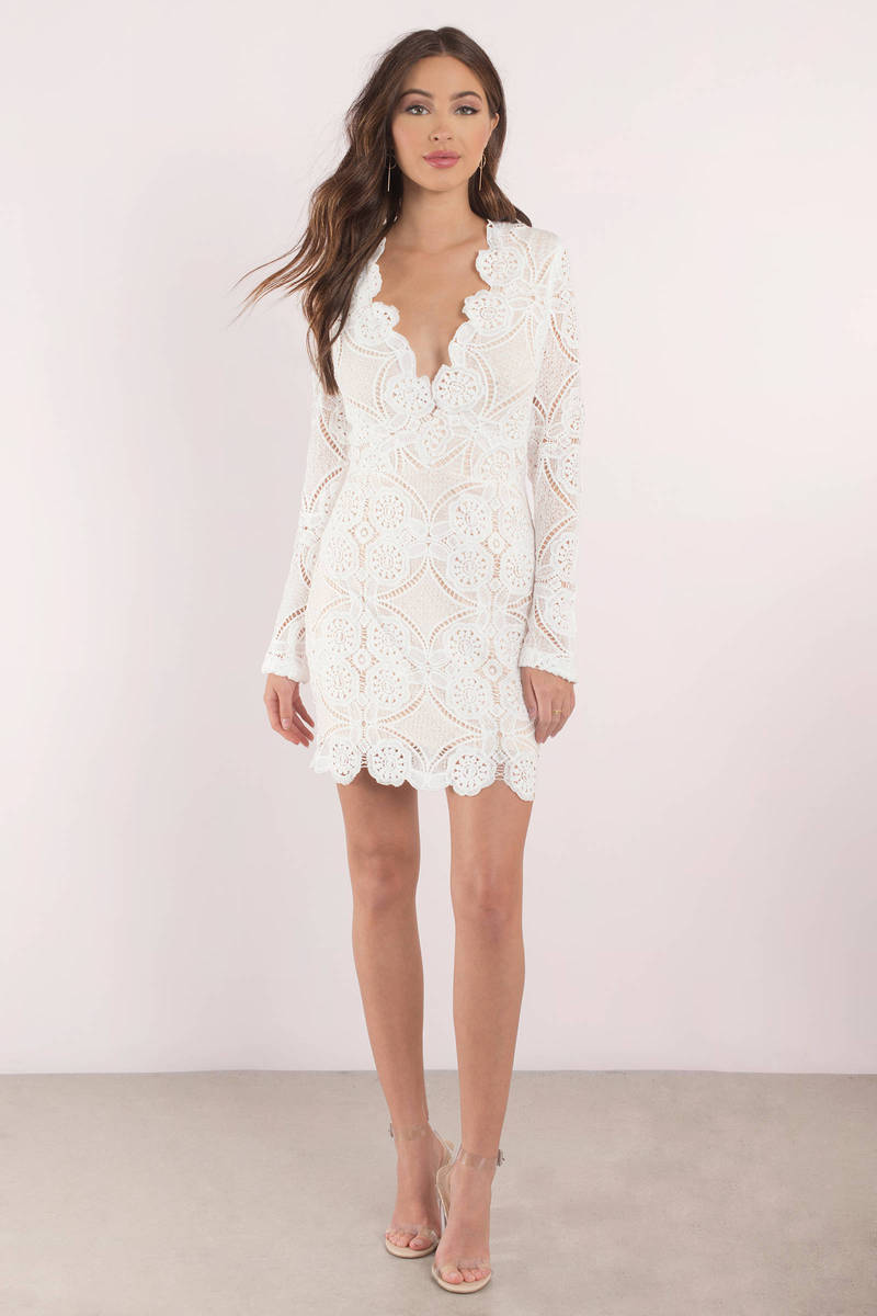 Wedding long sleeve white bodycon dress