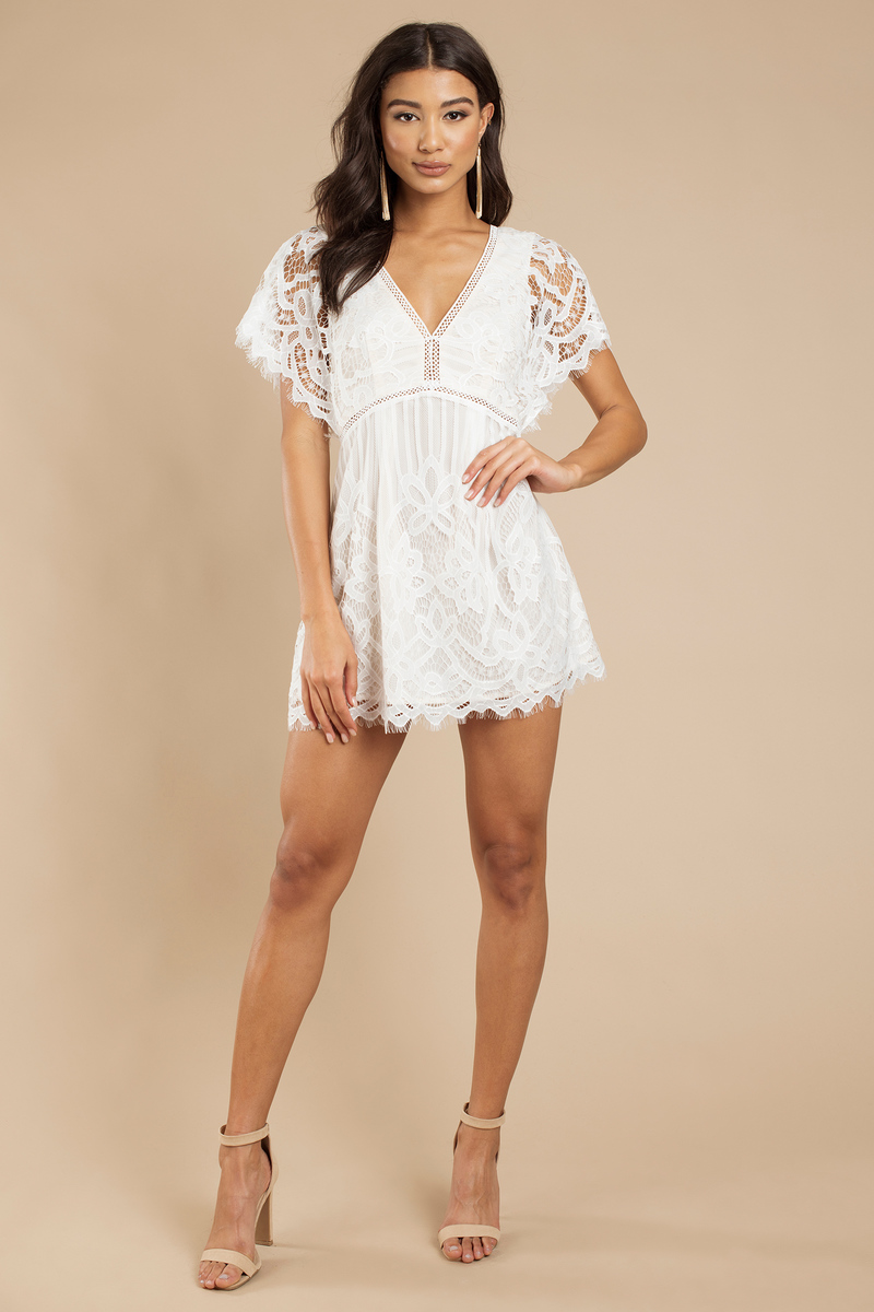 White Skater Dress - Lace Dress - White Dress | Tobi