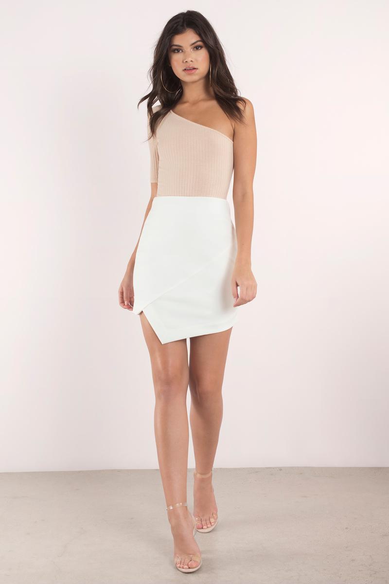 Taupe Skirt - Beige Skirt - Asymmetrical Skirt - $48.00