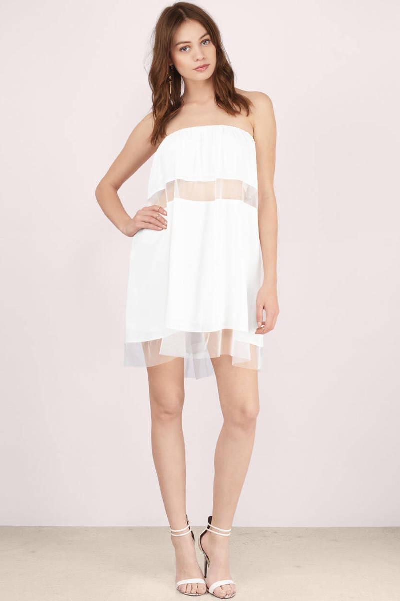 Sexy White Day Dress - White Dress - Strapless Dress - Day -5561