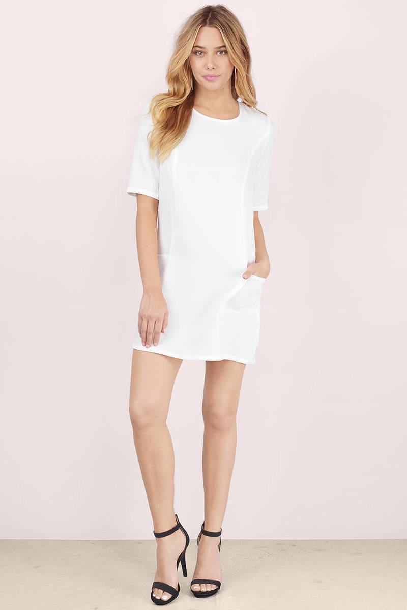 Twiggy White Patch Pocket Shift Dress - $10.00 | Tobi