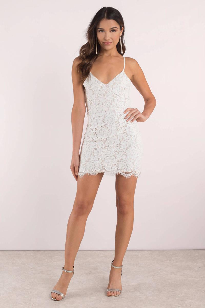Willow White Lace Bodycon Dress | Tobi