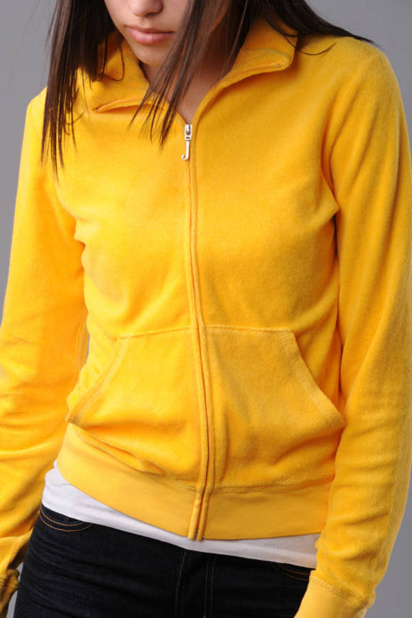 b8a080959c37 Yellow Track Jacket - Terry Cloth Track Jacket - Juicy Couture ...