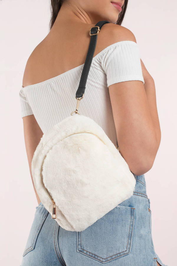 tobi white fuzzy feels backpack