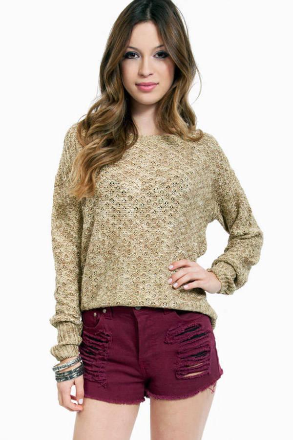 Metallic Mixed Knit Sweater