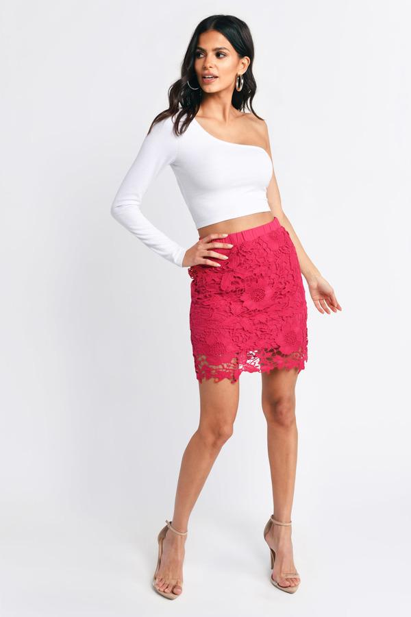 Pink Skirt Crochet Skirt Red Floral Skirt Berry Skirt 5