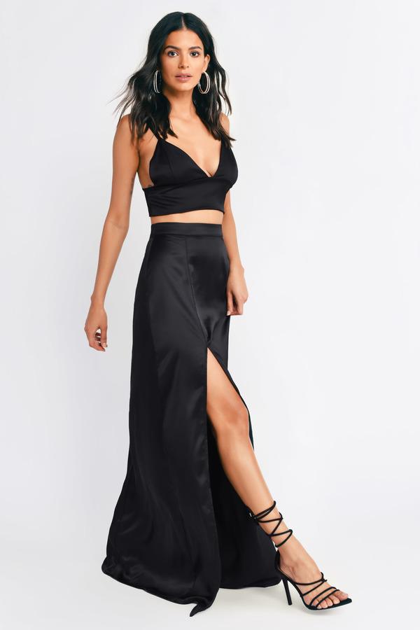 efa4c484a6 Maxi Skirts | Long Split Maxi Skirt, White, Black | Tobi
