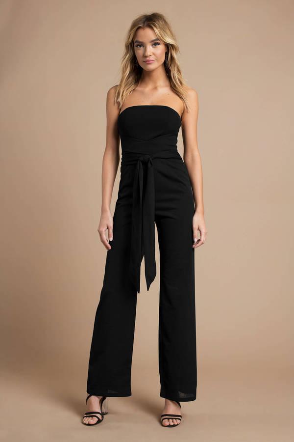 8758d5ec30a Black Jumpsuit - Strapless Jumpsuit - Black Front Tie Jumpsuit - 478 ...