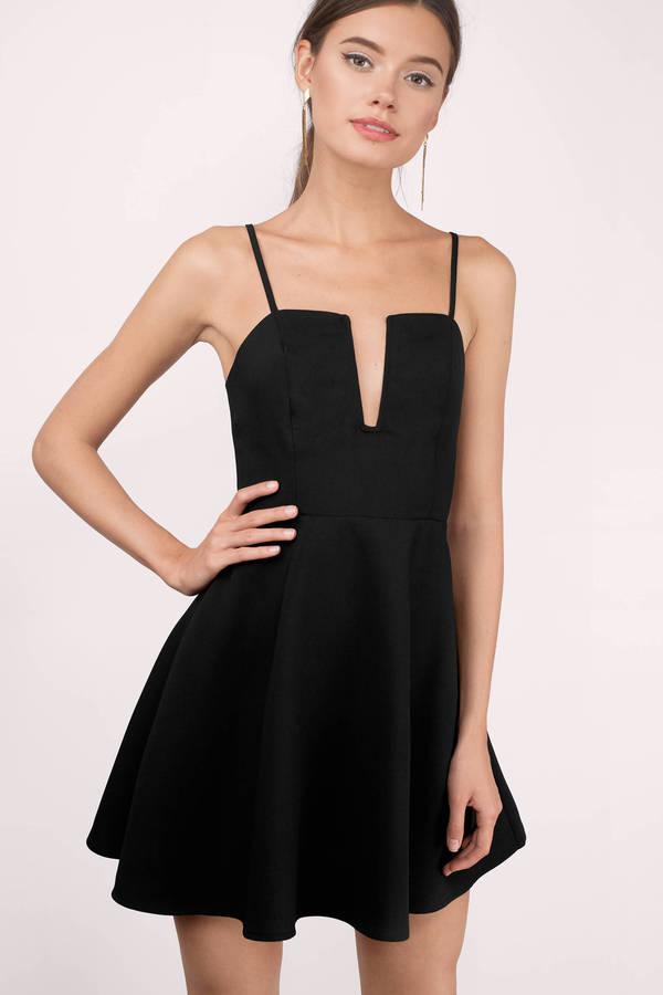 90471e9427 Cute Black Skater Dress - Plunging Dress - Skater Dress - $19 | Tobi US