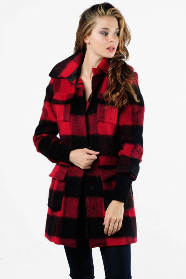Alice + Olivia&Nbsp;Ryan Belted Buffalo Plaid Coat&Nbsp;In Black And Red by Tobi