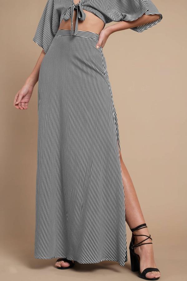 a0da9abdf5 Black Skirt - Split Front Maxi Skirt - Black Striped Maxi Skirt - AU ...