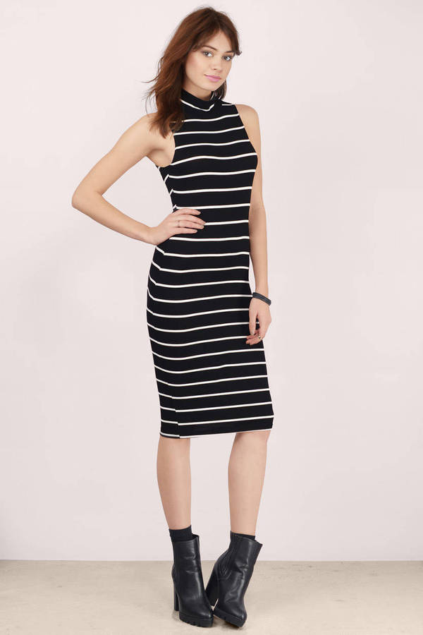 Black and White Midi Dress