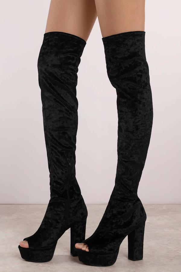 black velvet thigh boots