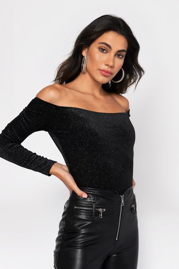 Callie Black Off Shoulder Rhinestone Velvet Top by Tobi