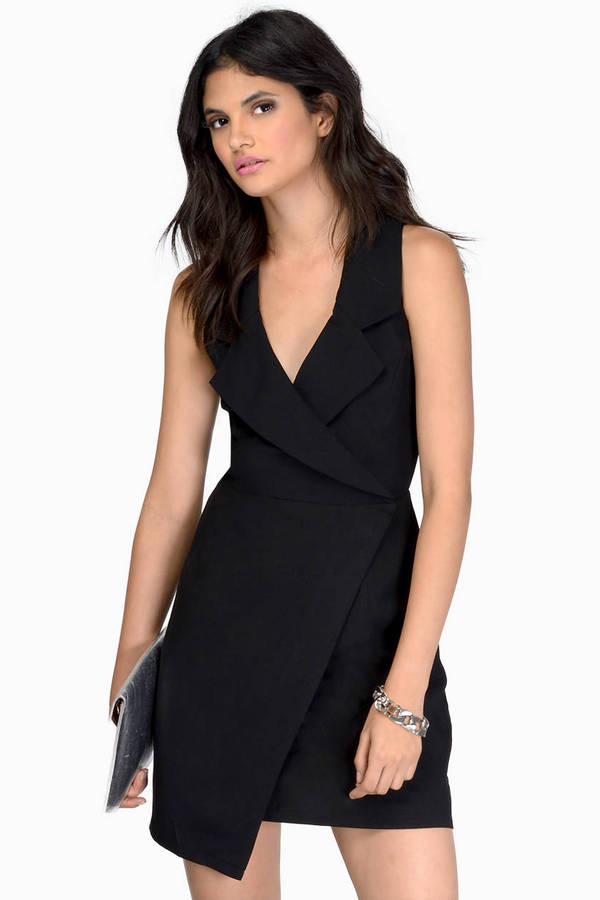 Black Wrap Dress Black Dress Sleeveless Dress Black Wrap Dress