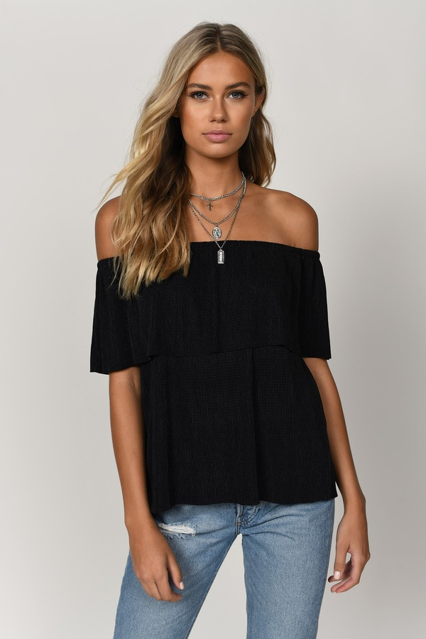 e53ff10bc892f Black Blouse - Off Shoulder Top - Black Bardot Top - Going Out Top ...