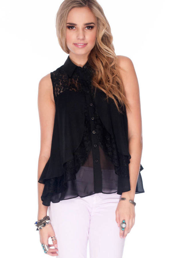 Clara Lace Button Down Blouse