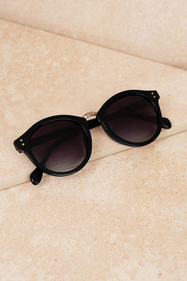 c3978862775 Black Sunglasses - Round Sunglasses - Black Shades - Small ...