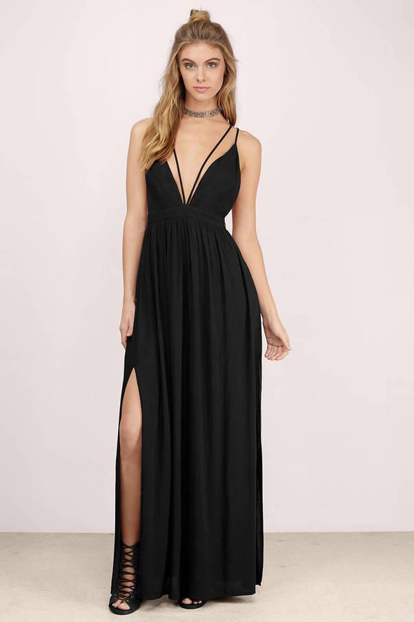 97d2a79dc33 Sexy Black Maxi Dress - Plunging Maxi - Strappy Black Maxi - C  23 ...