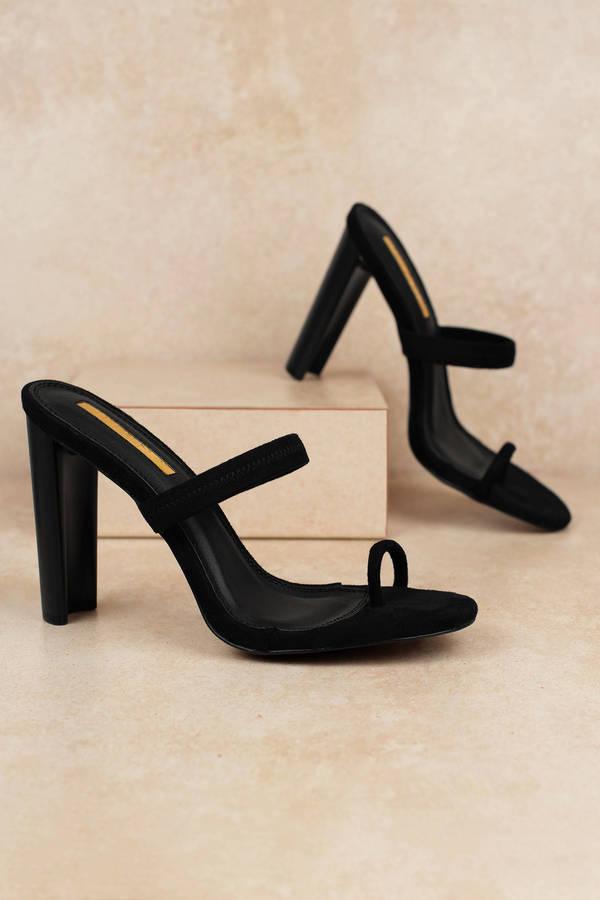Black Heels Slide On Heels Black Toe Strap Heels Casual Heels