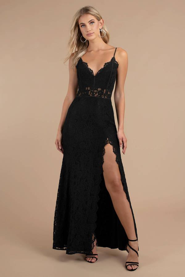 4a0e878ffc Black Maxi Dress - Formal Lace Dress - Elegant Black Dress - Slit ...