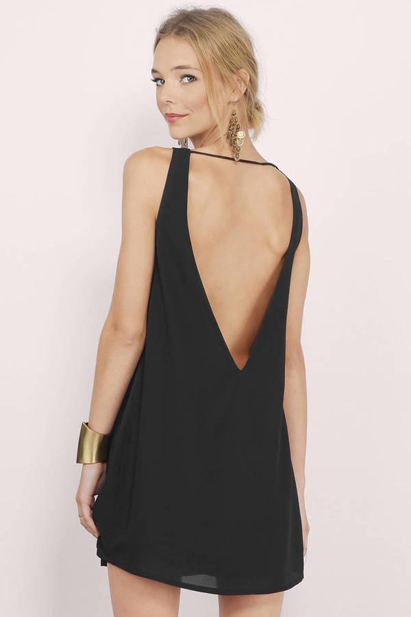603784574dd8 Sexy Black Shift Dress - Low Cut Back Dress - Shift Dress -  24 ...