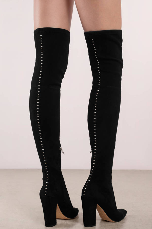 dolce vita emmy black studded suede thigh high boots c