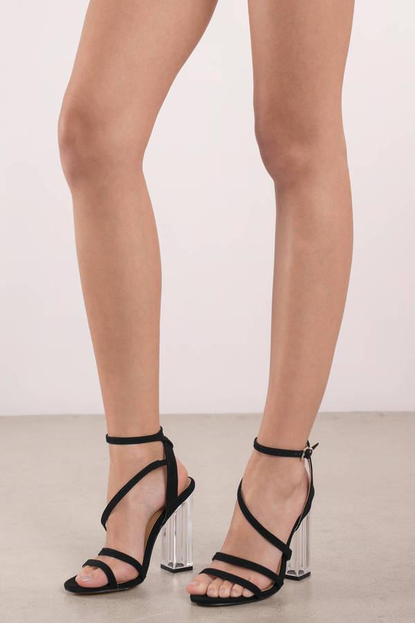 Black Report Footwear Heels - Clear High Heels - Black Strappy High ...