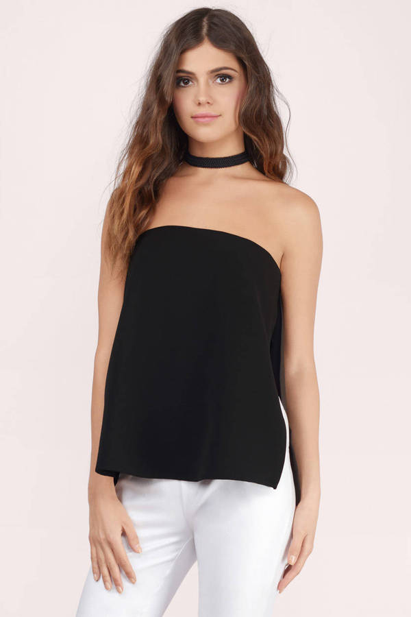 Black Strapless Tops