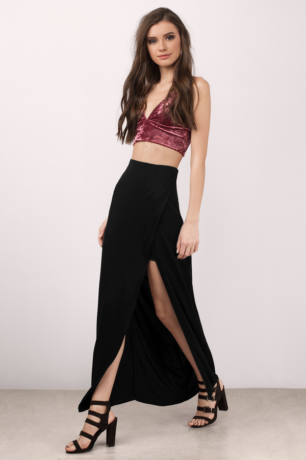 high slit black skirt trendy black skirt maxi skirt high waisted skirt 379