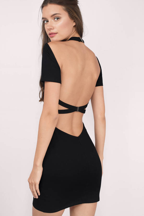Sexy Black Bodycon Dress - Open Back Dress - $60.00