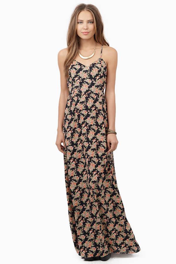 Trendy Black Floral Maxi Dress - Floral Print Dress - € 11 | Tobi IE