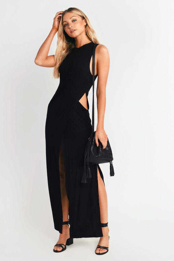 c22158adeb Chic Black Dress - Cut Out Dress - Pewter Long Dress - Maxi Dress ...