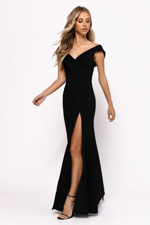 2ce803e02444 Black Maxi Dress - Open Shoulder Dress - Black Formal Slit Gown ...