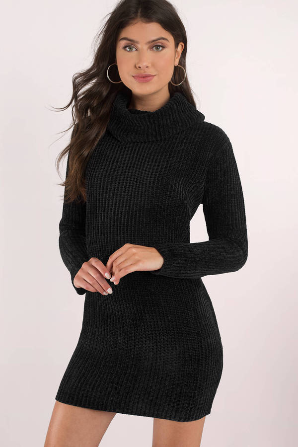 Hailey Black Turtleneck Sweater Dress - $82 | Tobi
