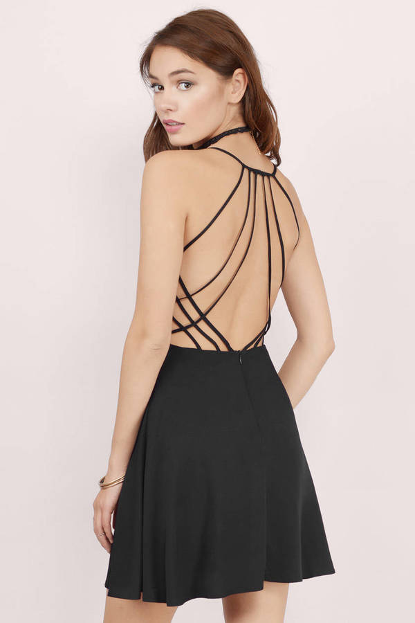 e815022e44d6 Sexy Black Skater Dress - Black Dress - Strappy Dress - Skater Dress ...