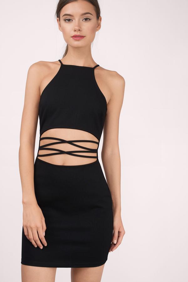 Black Bodycon Dress Black Dress Lace Up Dress Black Bodycon
