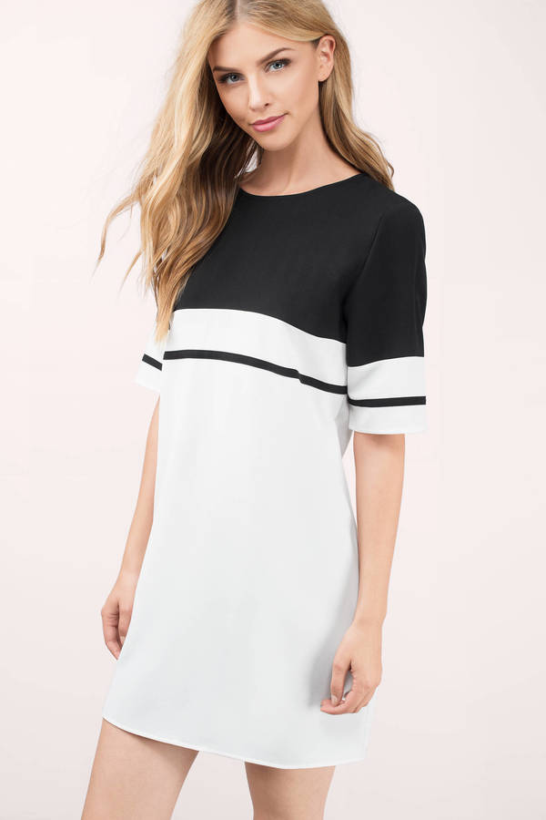 1e1420028b320 Black & Ivory Dress - Black Dress - Striped Swing Dress - Shift ...