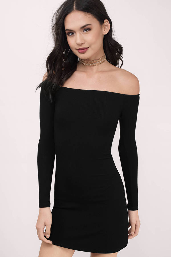 2d24a6e4524 Cute Black Bodycon Dress - Off Shoulder Dress - Bodycon Dress - $54 ...