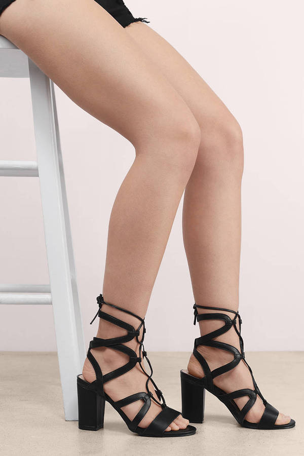 78ccc4b2248 Black Heels - Lace Up Heels - Open Toe Heels - Strappy Heels - kr ...
